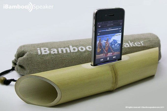 This is the product picture of an iBamboo Electricity Free Speaker