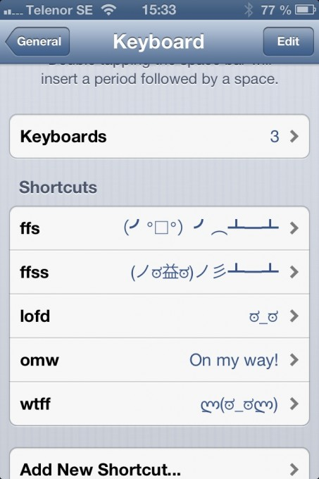 "A quick way of typing ""flipping tables"" or ""look of disapproval"" on the iPhone"