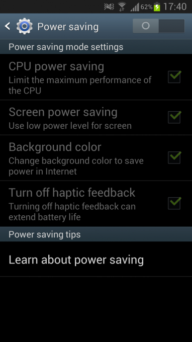 Power saving features on the Samsung Galaxy S3