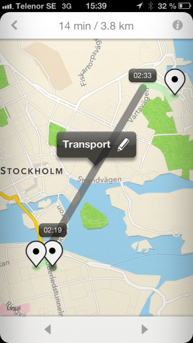 Screenshot from the Moves app