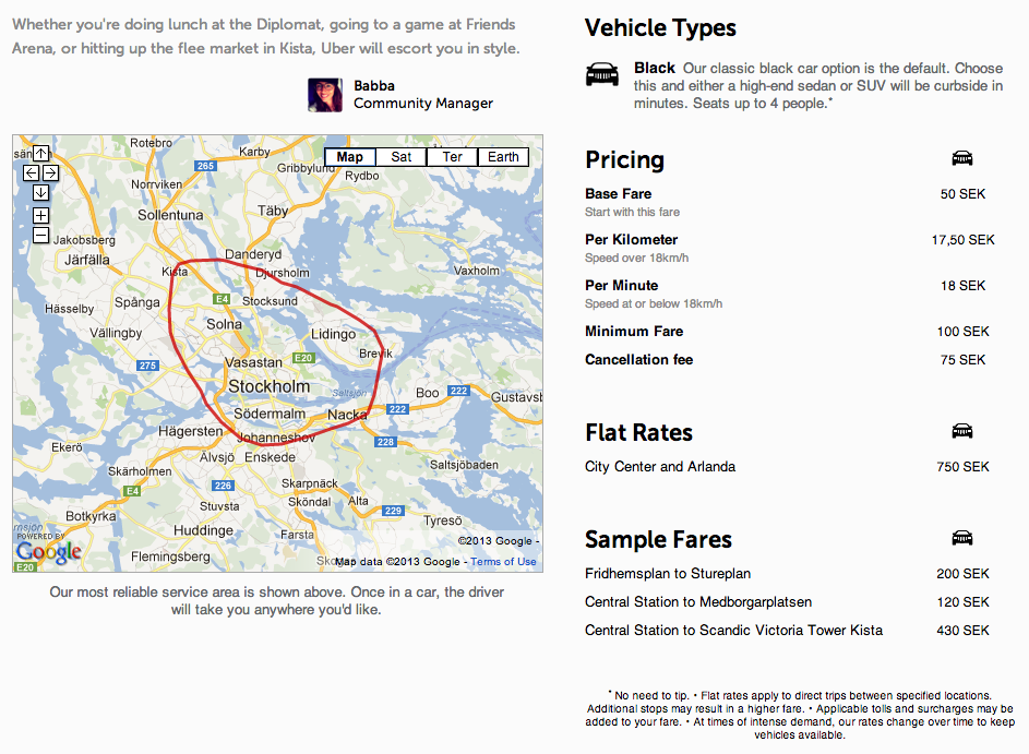 The price plan for Uber Stockholm
